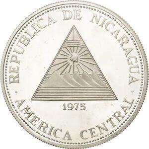 [#27527] NICARAGUA, 100 Cordobas, 1975, KM #35, MS(65-70), Silver, 24.95
