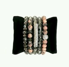 WOMENS SILVER PAVE BAR GRAY CORAL PEACH BEAD BRACELETS JEWELRY GIFT WRIST PARTY