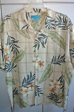 Paradise Blue  XXL    Hibiscus & Plumeria on Tan Silk/New