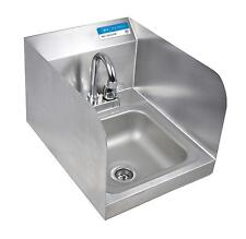 Bk Resources Stainless Hand Sink with Faucet Drain & Side Splash Nsf