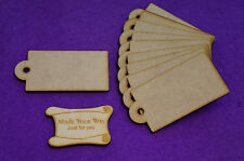 Craft MDF Luggage Gift Tag Rounded 4x8cm/40x80mm x 3mm - 10 x laser cut