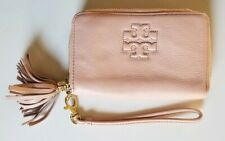 Tory Burch Sweet Melon Thea Pebbled Leather Smartphone Wristlet With Tassel $155
