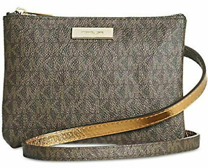 Michael Kors MK Signature Fanny Pack Chocolate Brown Size Large New w/Tags #69