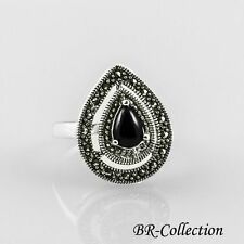 Sterling Silver Ring with Black Onyx and Swiss Marcasite