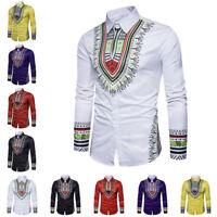 Men Dashiki Shirt Long Sleeve Slim African Tribal Mexican Hippie Top Blouse Soft
