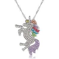 Rainbow Color Crystal Unicorn Horse Animal Pendant Necklace Women Girls Jewelry