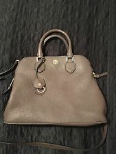 Tory Burch Robinson Pebbled Leather Open Dome Satchel in Brown, Dark Walnut.