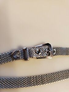 1970's Vintage Choker Wrap Bracelet Silver Color Buckle Closure Jewelry