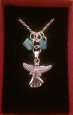 Handmade necklace and pendant,angel or feather with a choice of healing crystals
