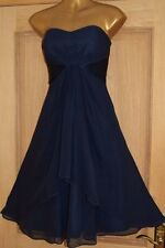 COAST ~MICHEGAN~ NAVY BLUE SILK EVENING OCCASION COCKTAIL PARTY DRESS SIZE 16