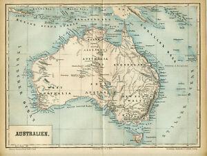 1876 Map of Australia Original Antique  Map