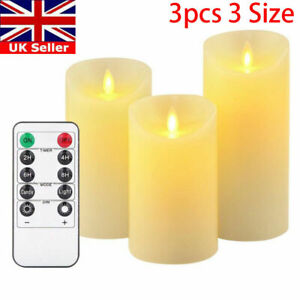 Flameless Wax LED Flickering Candles Dancing Battery Operated Mood Light UK