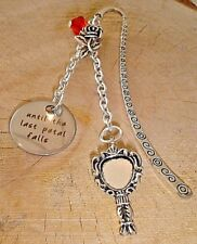BEAUTY AND THE BEAST UNTIL THE LAST PETAL FALLS ROSE CHARM BOOKMARK SILVER