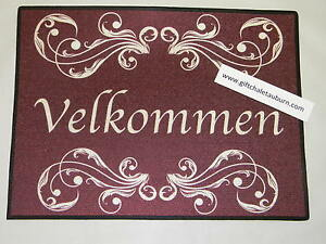 Scandinavian Norwegian Danish Velkommen Rosemaling Welcome Door Mat Rug #240-R24