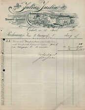 OSCHATZ, Rechnung 1908, Spezial-Geschäft für Sattler-Bedarf J. Justin