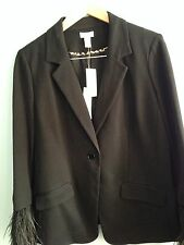 Chicos black jacket with feather cuffs