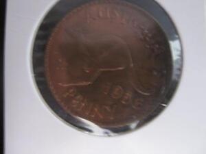 1956 AUSTRALIAN PENNY  - in 2 x 2 (orange lustre )