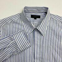 Calvin Klein Button Up Shirt Men's Medium Long Sleeve Blue White Striped Casual