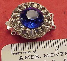 Vintage 18mm Necklace Clasp Connector 2 Str Antique Cobalt Blue Silver Filigree