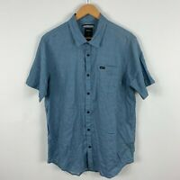 RCVA Mens Button Up Shirt Large Slim Blue Chambray Short Sleeve Collared