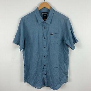 RCVA Mens Button Up Shirt Size Large Slim Blue Short Sleeve Collared 47.12