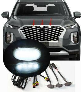For Hyundai Palisade 2020-2021 Smoke Front Grille White LED Light Raptor Trim 3X