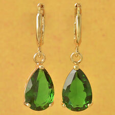 New 9k Yellow Gold Filled Emerald Green CZ Pear Shape Water Drop Dangle Earrings