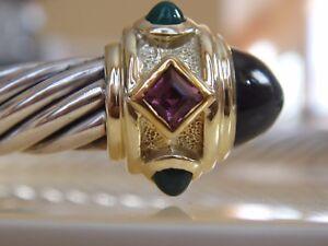 $1950 DAVID YURMAN 14K GOLD,SS  BLACK GREEN ONYX PINK TOURMALINE BRACELET
