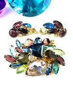 FABULOUS JULIANA D&E FRUIT SALAD MULTICOLOR RHINESTONE BROOCH CLIP EARRINGS SET