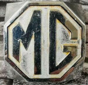 VINTAGE CHROMED MG TC EXPORT READ/REAR BUMPER PLINTH BADGE, MADE FOR MG BY...