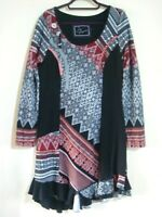 JOE BROWNS SIZE 16 BLACK & RED LAGENLOOK LONG SLEEVE JUMPER DRESS TUNIC