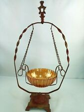 Imperial Carnival Glass Orange Marigold Bowl with Red Metal Hanging Stand