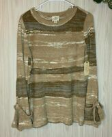 NWT St. John's Bay Striped Chenille Sweater Women's Size S Bell Sleeves
