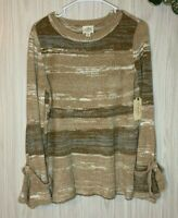 NWT St. John's Bay Striped Chenille Sweater Women's Size S Bell Sleeves Beige