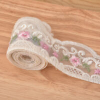 2 Yards Mesh Flower Lace Fabric Trim Embroidered Wedding Dress Sewing Craft DIY
