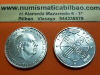 ESPAÑA 100 PESETAS 1966 * 19 66 PLATA SIN CIRCULAR FRANCO ESTADO ESPAÑOL SC UNC