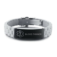 Medical Alert Men Women Kid Bracelet Cuff Gray Silicone Customized BLOOD THINNER