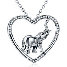 Solid Sterling Silver Cute Elephant in Heart Pendant with Crystal Gems Necklaces