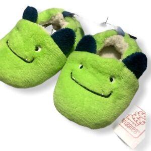 swiggles green monster plush infant slippers sz 6
