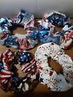 4 Americana Patriotic Scrunchies Lot Of 4 Handmade USA Red White Blue Eagle Star