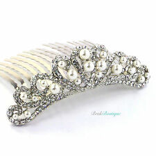 Bride Bridesmaid Wedding Crystal Pearl Vintage Heart Small Mini Comb Tiara TH18