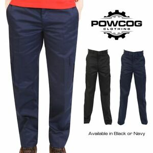NEW Womens Ladies Cargo Combat Work Wear Trousers  BLACK or NAVY  SIZES 8 - 22