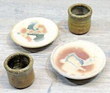 Lot of 4  Studio Pottery Mini Tea/Sake/Candle Cups and Signed Mini-Plates