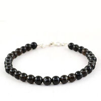 """Round Shape 80.00 Cts Earth Mined 8"""" Inches Long Black Spinel Beads Bracelet"""