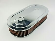 "NEW NOS 1235 EDELBROCK PRO-FLO CHROME OVAL AIR CLEANER DUAL-QUADS 2.5"" ELEMENT"