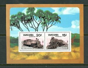 E207 Tanzania 1985 trains locomotives sheet MNH