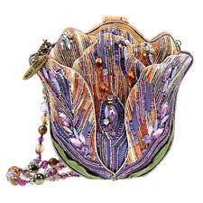Mary Frances Tempting Tulip Purple Pastel Flower Beaded Handbag Purse Bag New