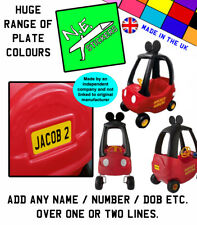 PERSONALISED Number Plates TO FIT Little Tikes MICKEY MOUSE Cozy Coupe toy car