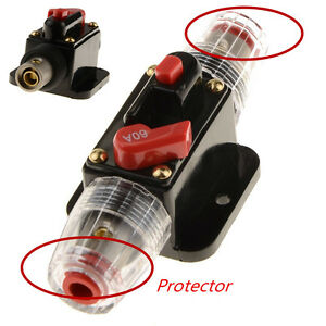 12V DC Car Audio Inline Circuit Breaker Fuse for System Protection 60A Universal