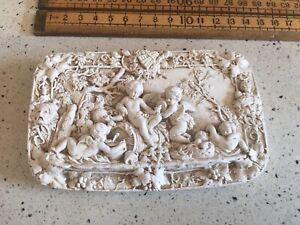 Vintage Plaster Relief Carving, Lots Of Detail, Carved Vintage Plaque, Plaster